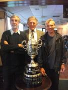 Chairman Eric Tocher, Hon Sec Ben Mallett, and Life Member Dave Reynolds with Zingari Combination Trophy - May 11